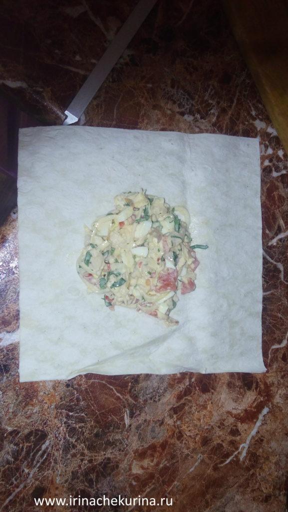 Lavash s vkusnoj nachinkoj v duhovke, recept s foto ukladyvaem nachinku